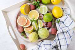Variety Of Citrus Fruits With Tiger Lemon Royalty Free Stock Image