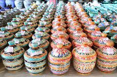 Variety Of Colorfully Painted Ceramic Pots Stock Photography