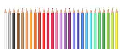 Free Variety Of Colors Vector Set Of Colored Pencils. Royalty Free Stock Photo - 130457225