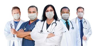 Free Variety Of Medical Healthcare Workers Wearing Medical Face Masks Amidst The Coronavirus Pandemic Stock Photos - 176500673