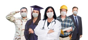 Variety Of People In Different Occupations Wearing Medical Face Masks Amidst The Coronavirus Pandemic Stock Image