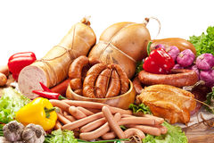 Variety Of Sausage Products With Vegetables. Clipping Path. Stock Photos