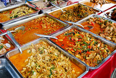 Variety Of Thai Food In Market Stock Photo