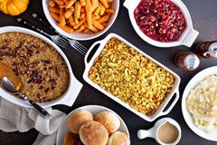 Free Variety Of Thanksgiving Sides On The Table Stock Images - 159377064