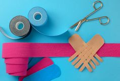 Free Variety Of Therapeutic Self Adhesive Tapes, Taping Kinesiologico Stock Images - 136515024