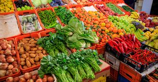 Variety Of Vegetables And Fruits For Sale In A Market In Nicosia Cyprus. Closeup View With Details. Stock Photography