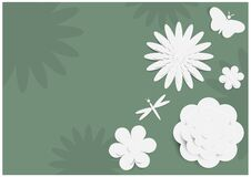 Free Variety Of White Flowers And Butterfly With Dragonfly In Papers Cut Style On Green Flowers Pattern Stock Photo - 192246510