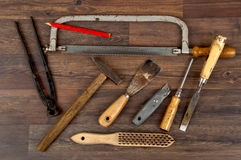 Variety of old used tools Royalty Free Stock Photo