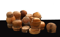 Variety of old wooden hat blocks Royalty Free Stock Photo