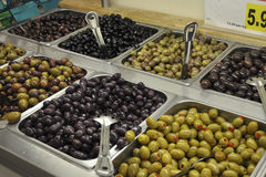 Variety of Olives. Black olives, green olives and  Royalty Free Stock Photography