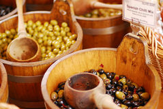 Variety of olives being sold at a market Royalty Free Stock Image