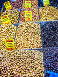 Variety olives on display Royalty Free Stock Photos