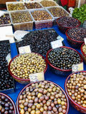 Variety of olives at a Greek street market Stock Photography