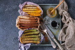 Variety of ombre pancakes Royalty Free Stock Photography