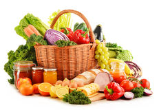 Variety of organic grocery products on white Royalty Free Stock Photo