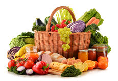 Variety of organic grocery products on white Stock Images