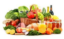 Variety of organic grocery products on white Royalty Free Stock Image