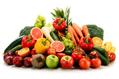 Variety of organic vegetables and fruits on white Royalty Free Stock Photography