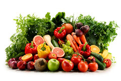 Variety of organic vegetables and fruits on white Royalty Free Stock Images