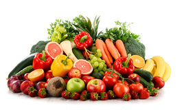 Variety of organic vegetables and fruits on white Royalty Free Stock Photo