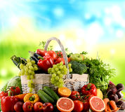 Variety of organic vegetables and fruits in wicker basket Stock Photo