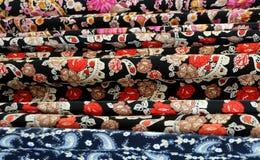 Variety Of Oriental Fabrics. Turkish dress fabrics in the store in the city of Izmir in Turkey Stock Photo