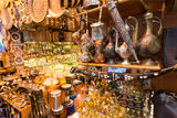 A variety of oriental items offered for sale at the Grand Bazaar Stock Photography