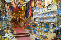 A variety of oriental items offered for sale at the Grand Bazaar Royalty Free Stock Photo