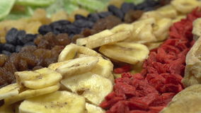 Variety of Oriental Sweets. Moving past the camera portion of dried and candied fruit - dates, figs, guavas, goji, banana chips, raisins, kiwi fruit, dried stock video