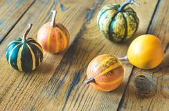 Variety of ornamental pumpkins stock images