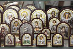 Variety of Orthodox religious icons as a gift. Moscow. 12.10.201 stock photos