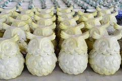 Variety of Owl Ceramic Pots Royalty Free Stock Photography