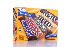 Variety Pack of Candy Bars from Mars Chocolate stock photography