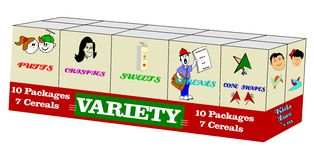Variety pack of cereal. Popular variety pack of cereal from the fifties with toys inside for kids vector illustration