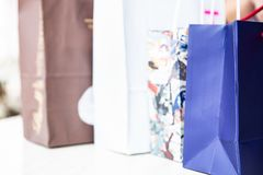 Variety of paper shopping bags. royalty free stock photography