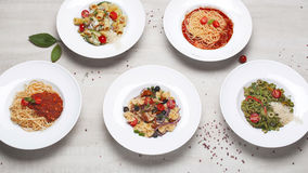 A variety of pasta on the menu of different shapes Royalty Free Stock Images
