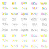 The Variety of pastel colors alphabet sets. Calligraphy art Vect Royalty Free Stock Photo