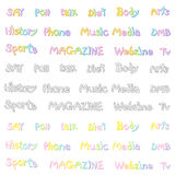 The Variety of pastel colors alphabet sets. Calligraphy art Vect Stock Photos