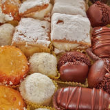 Variety of pastries closeup, sweet background Royalty Free Stock Photography