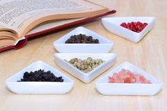 Variety of peppercorns and salt. With open cook book in background Royalty Free Stock Photos