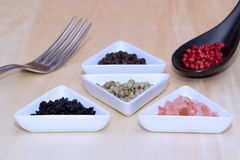 Variety of peppercorns and salt. On a table Royalty Free Stock Images