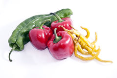 Variety of peppers. A variety of spicy and no spicy peppers Stock Images