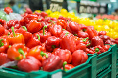 Variety of peppers in boxes in supermarket Stock Images