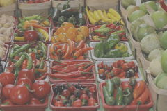 Variety of peppers at market Royalty Free Stock Image