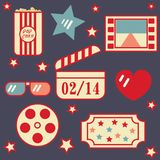 Decorative elements on the theme of cinema in the style of flat decoration for February 14 Valentine`s Day vector illustration