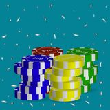 A variety of poker chips of different value,flying silver serpantine.Vector illustration.  royalty free illustration