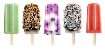 Variety of popsicles isolated on white Royalty Free Stock Image