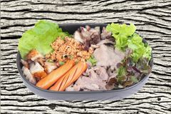 Variety of pork seasoning and serve. Pork in sauce,roast pork wi. Variety of pork seasoning and serve. Pork in sauce , roast pork with crispy rind, smoked stock photography