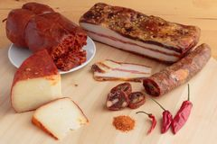 Calabrian spiced food products. stock photo