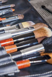 Variety of Professional Makeup Brushes Put Together Royalty Free Stock Photos